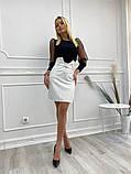 Кожаная юбка с поясом экокожа белая черная беж стильная модная размеры: 42, 44, 46, фото 7