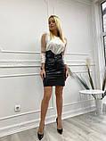 Кожаная юбка с поясом экокожа белая черная беж стильная модная размеры: 42, 44, 46, фото 3