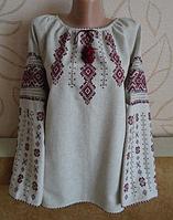Українська жіноча вишиванка на довгий рукав на сірому льоні ручної роботи із геометричним орнаментом