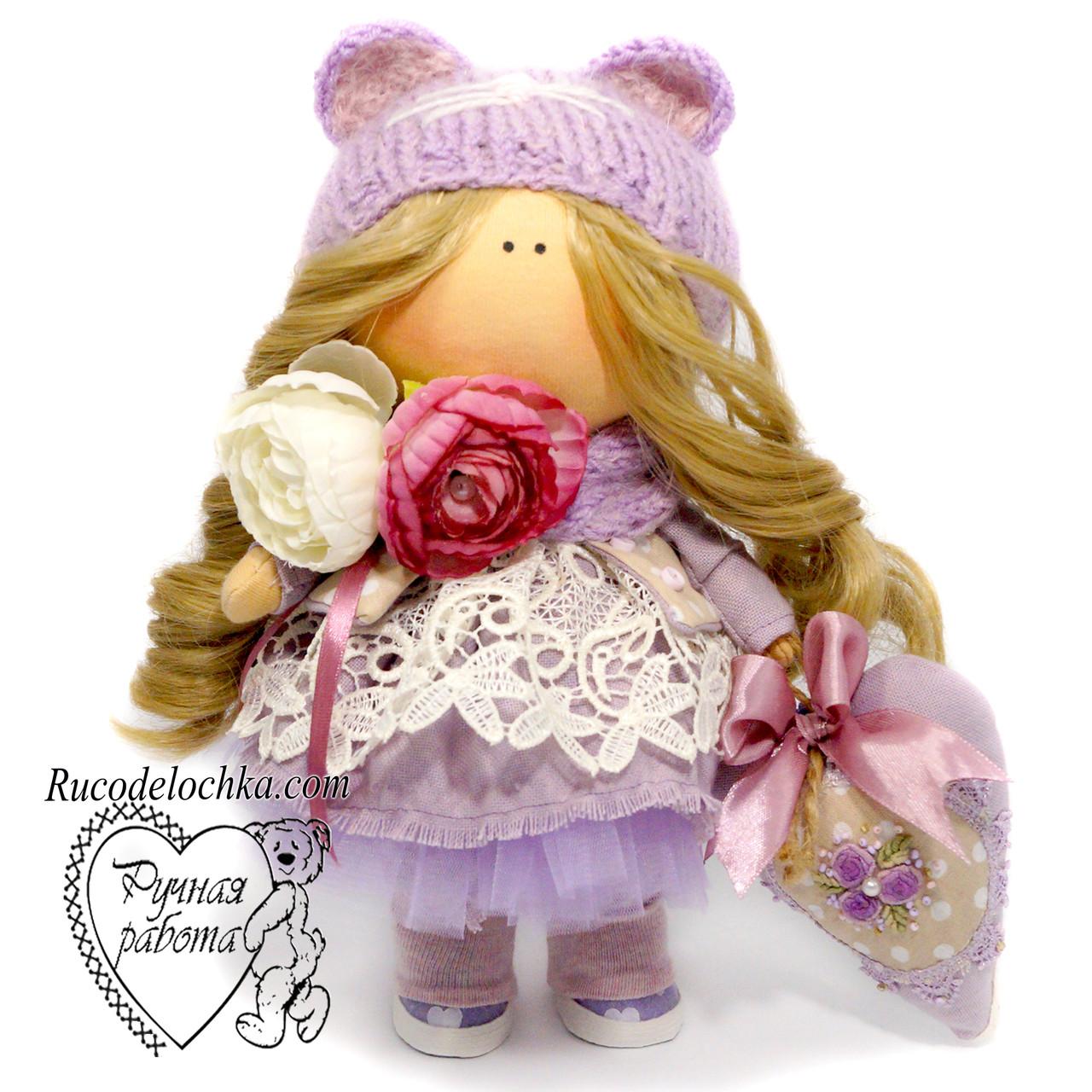 Кукла прованс, в сиреневом кукла тильда ручной работы, средняя