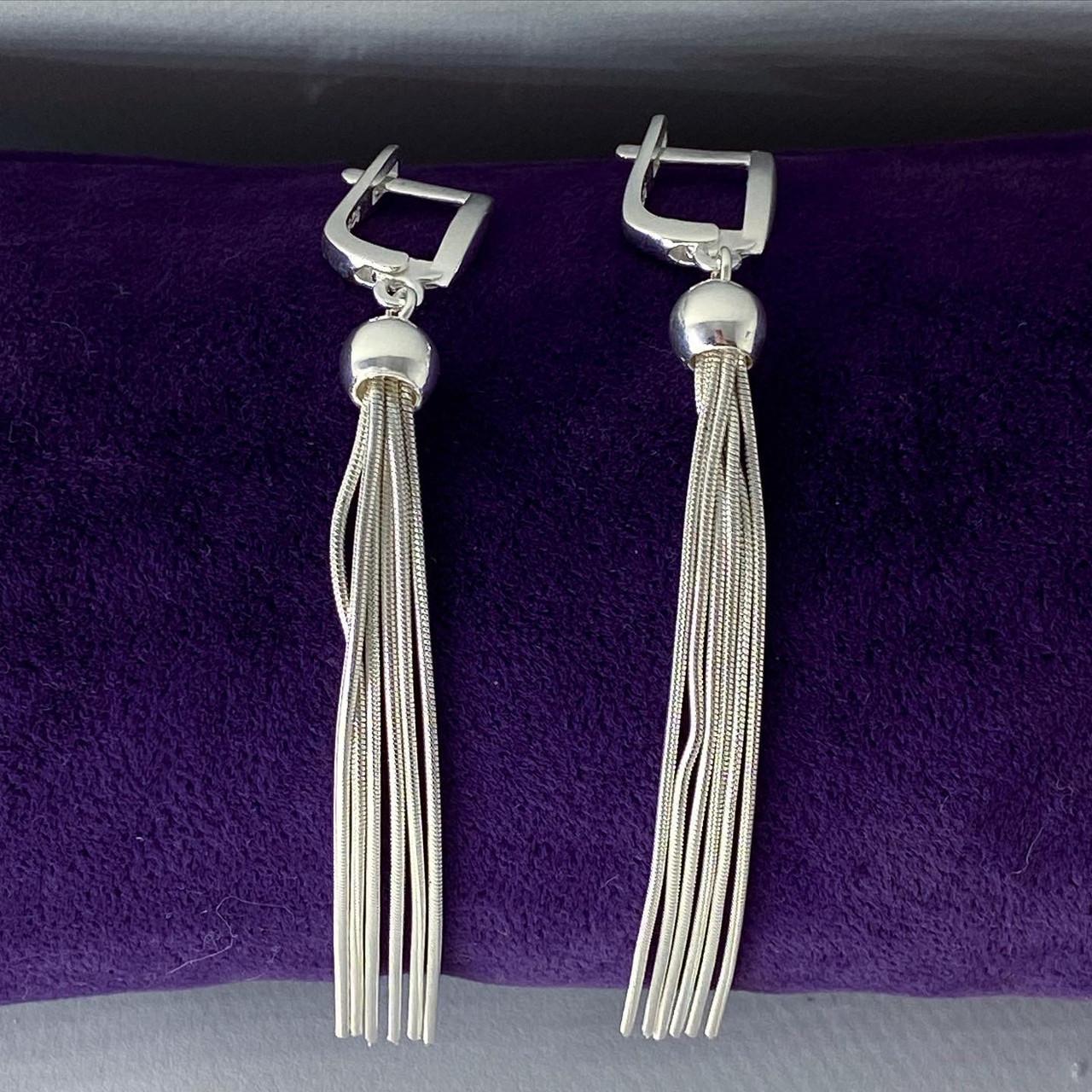 Сережки підвіски з срібла 925 Beauty Bar Tassel