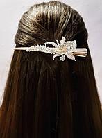 Заколка зажим для волос со стразами под золото 13см, фото 1