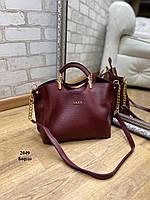 Сумка бордовая женская небольшая модная городская на плечо шоппер кожзам, фото 1