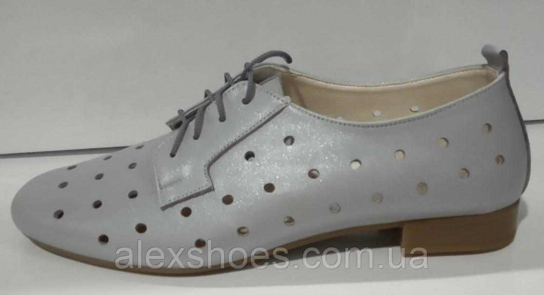 Туфли летние женские из натуральной кожи с перфорацией от производителя модель КС2003-5