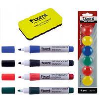 Набор для маркерно-магнитных досок и флипчартов (4 -ри маркера , губка, магниты ) Axent A.123, фото 1