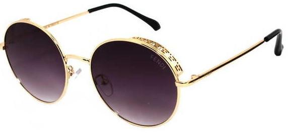 Очки от солнца, круглые, чёрные с золотым ажурным ободком, градиентными линзами, для женщин