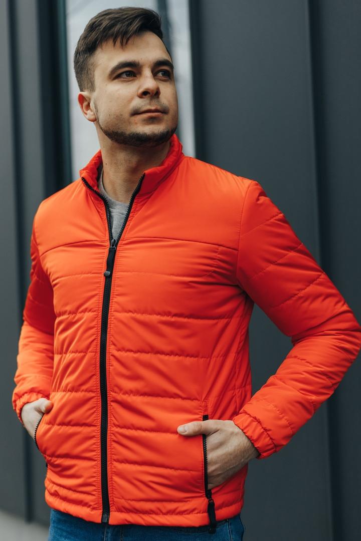 """Куртка мужская демисезонная без капюшона """"АРТ 067.07"""" оранжевый. Живое фото (весенняя куртка)"""