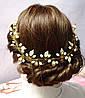 Ободок-декор для волос с жемчугом и листочками 38см