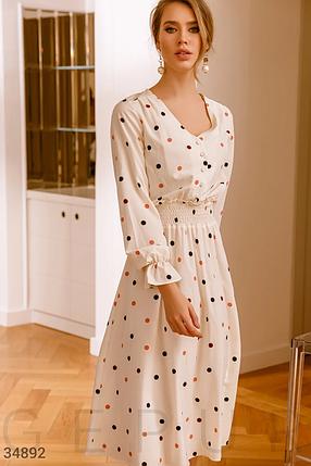 Молочно-белое платье из невесомой ткани с гороховым принтом, фото 2