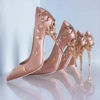 туфли  женские свадебные на каблуках  металл 4 цвета, фото 1