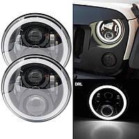 Фары Нива Универсальные светодиодные фары 7 дюймов 80 W Led DRL лед фары оптика Уаз Газ Ваз Honda 2101 тюнинг