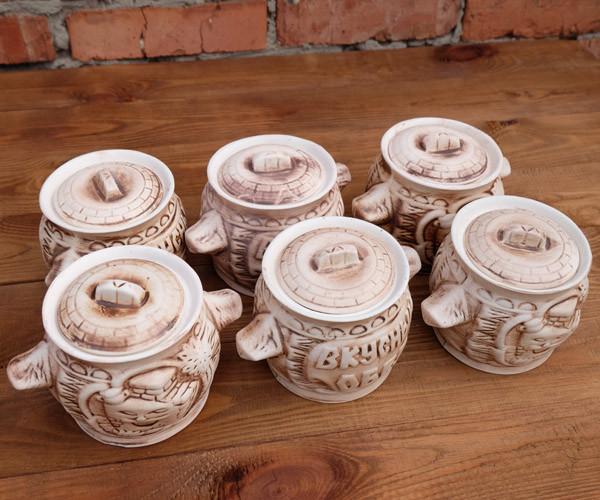 """Горшочки для запекания в духовке 6 шт из керамики """"Вкусный обед"""" светлые 500 мл"""