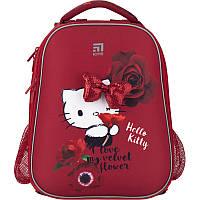 Рюкзак школьный ортопедический для девочки красный Kite Education Hello Kitty для начальной школы каркасный