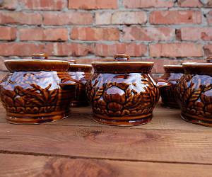 """Горшочки для запекания в духовке 6 шт из керамики """"Грибная поляна"""" 500 мл"""