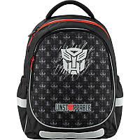Школьный рюкзак с ортопедической спинкой черный для мальчика Kite Education Transformers для первоклассника