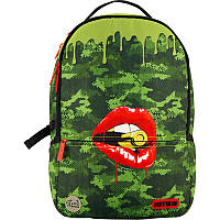Молодежный городской рюкзак зеленый с usb портом Kite City 2569-3 с Губами для подростков (K20-2569L-3)