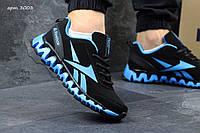Модные мужские кроссовки Reebok Zignano черные с голубым 44