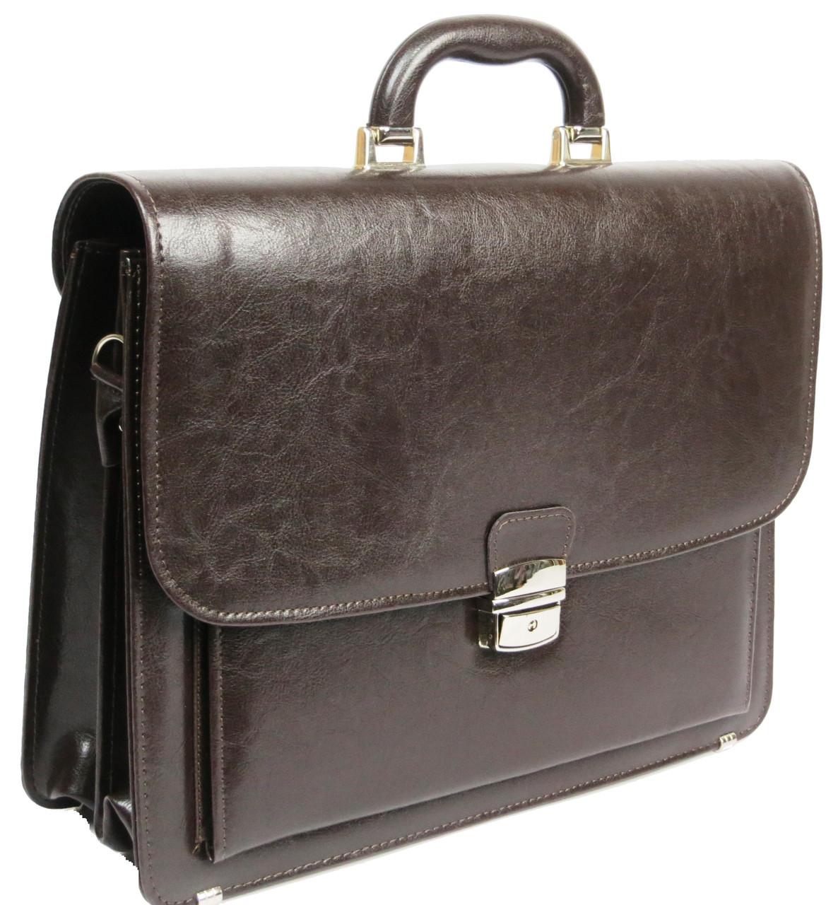 Чоловічий портфель з еко шкіри Jurom Польща 0-33/2-112 коричневий
