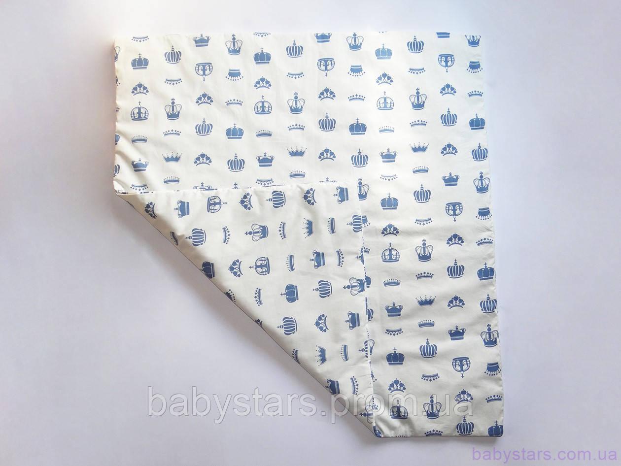 """Детское одеяло 85х80 см """"Серо-синие короны"""""""