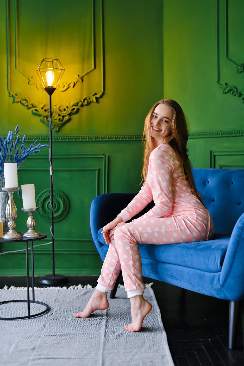 Женская пижама комбинезон с карманом на попе попожама Белый Горошек /Производство Украина/ КАЧЕСТВО ТОП!!!