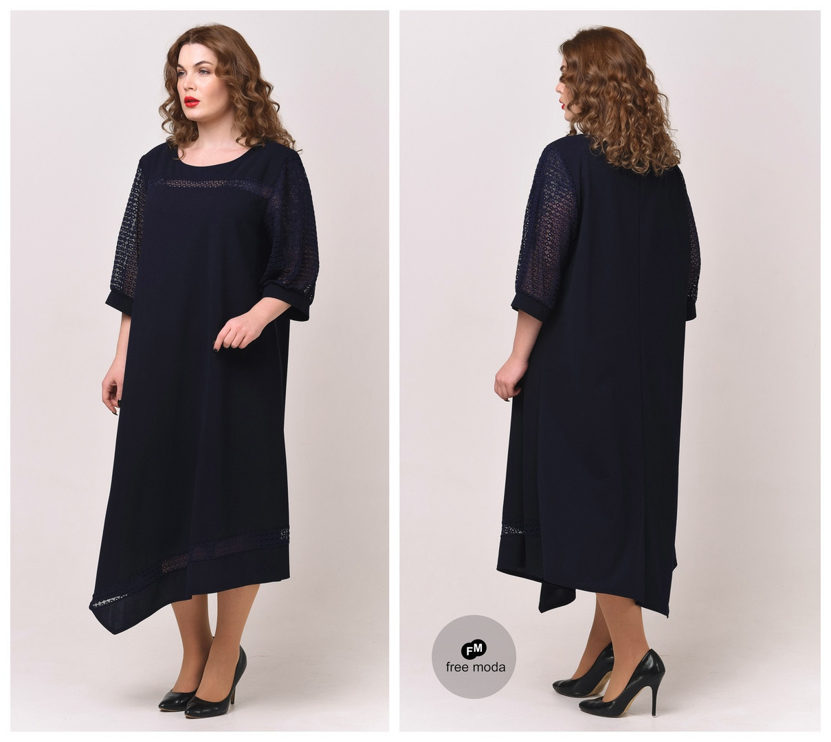 Красивое женское платье А-силуэта с ассиметричным низом батал  58-68  размер
