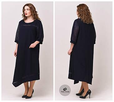 Красивое женское платье А-силуэта с ассиметричным низом батал  58-68  размер, фото 2