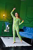 Женская пижама комбинезон с карманом на попе попожама Бананчики /Производство Украина/ КАЧЕСТВО ТОП!!!, фото 1