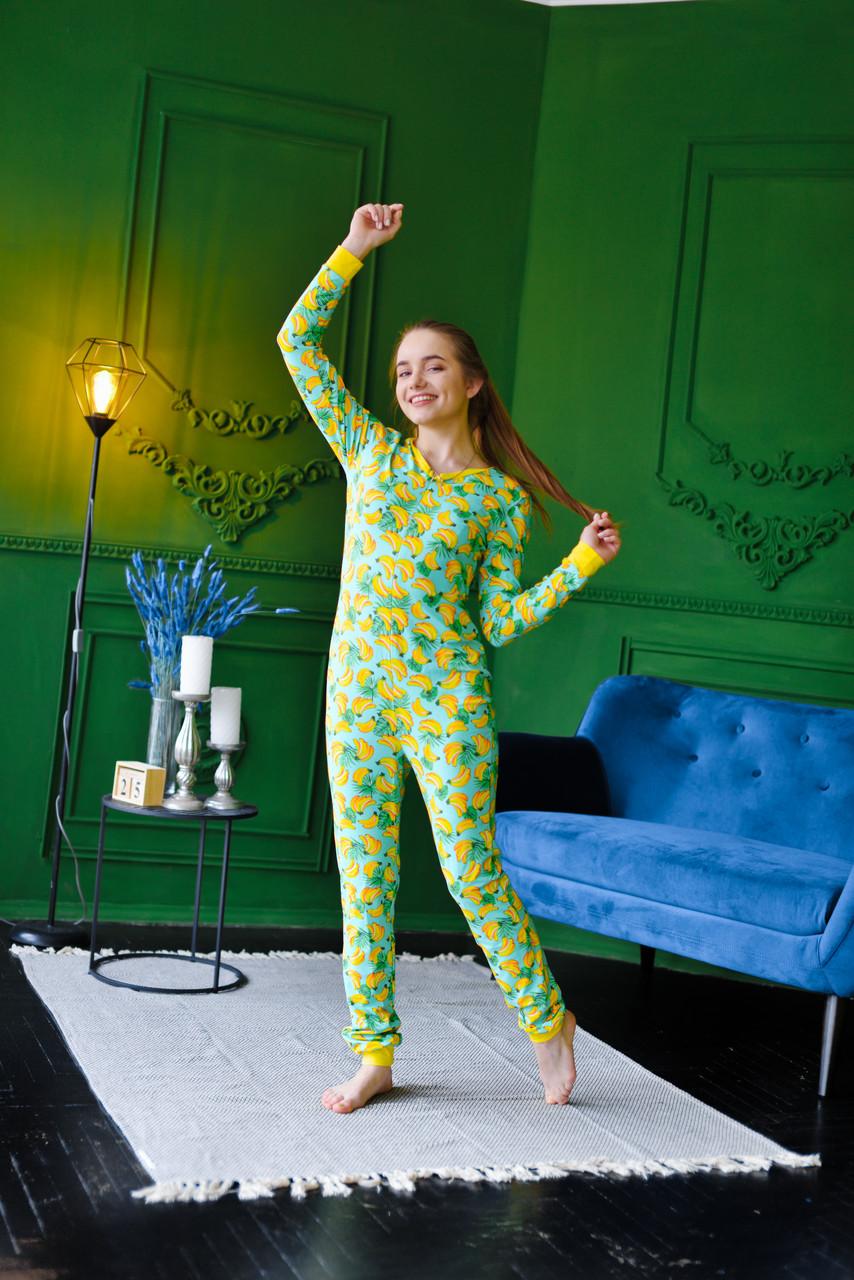 Женская пижама комбинезон с карманом на попе попожама Бананчики /Производство Украина/ КАЧЕСТВО ТОП!!!