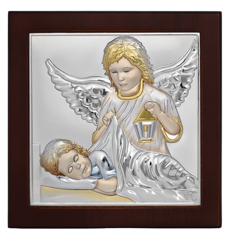 Икона Ангел Хранитель10х10см в серебре покрытом разноцветной эмалью