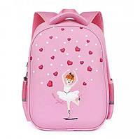 Каркасный ортопедический школьный розовый рюкзак   детский портфель, ранец для девочки 7-8-9 лет