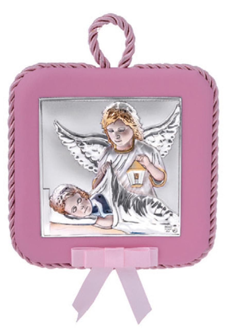 Икона  Ангел Хранитель 10,5х10,5см розового цвета на подушечке с эмалью