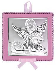 Икона для ребенка. Ангел Хранитель 14х14см на розовой подушечке с музыкой