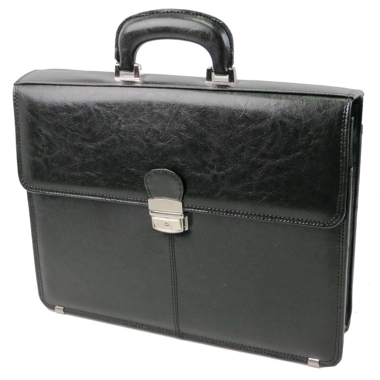 Чоловічий діловий портфель з еко шкіри JPB, TE-29 чорний