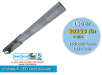 Уличный консольный LED светильник 150W, 20 253Lm, IP65