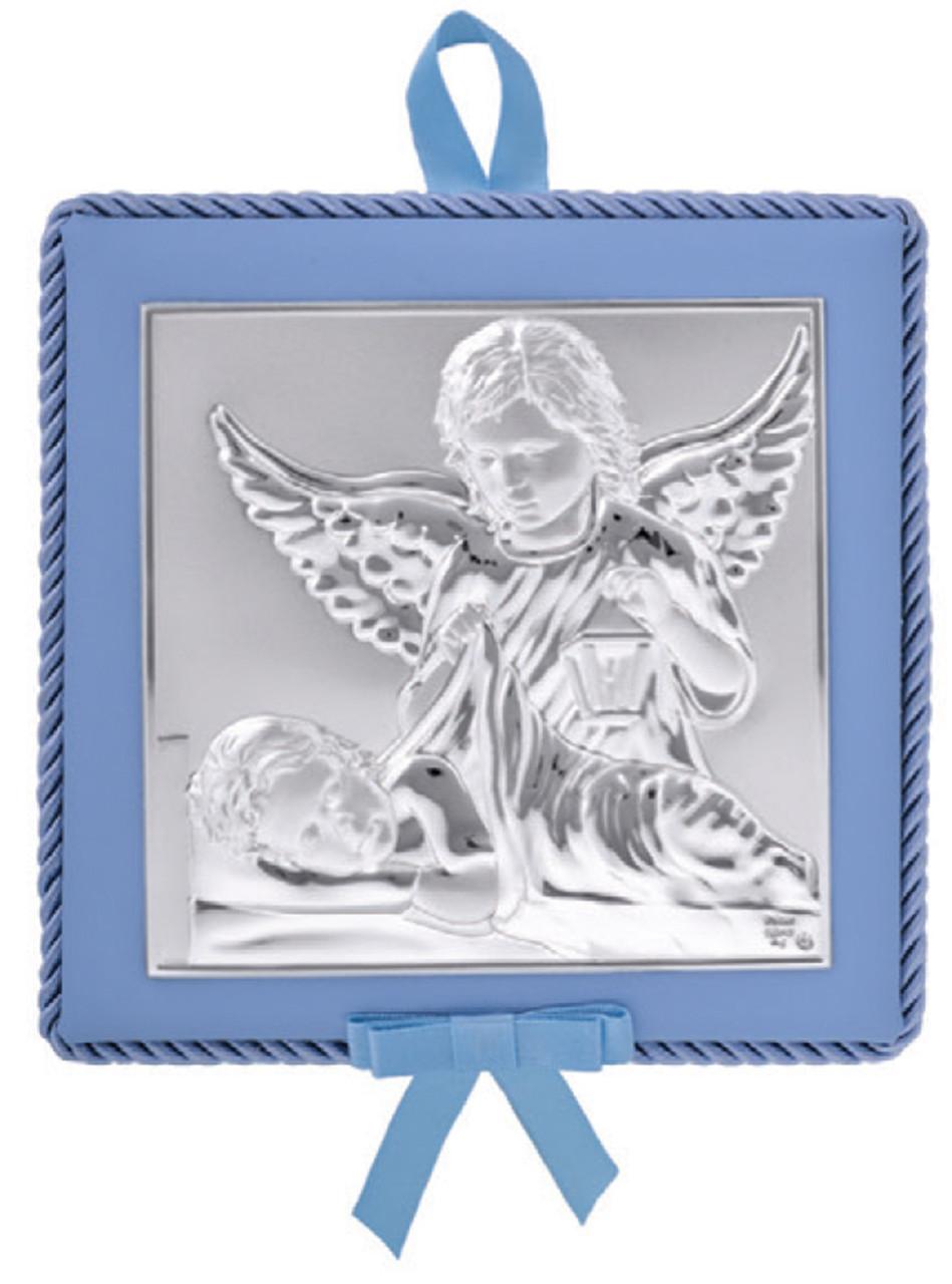Икона для ребенка. Ангел Хранитель 14х14см на синей подушечке с музыкой