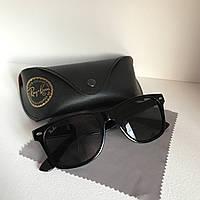 Солнцезащитные очки унисекс Ray Ban Wayfarer стекло черный глянец комплект