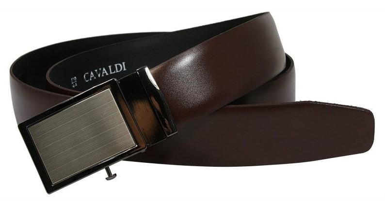 Мужской ремень под брюки пряжка автомат 4U Cavaldi коричневый