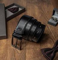 Кожаный ремень мужской для брюк Always Wild черный 3,4 см