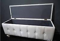 Банкетка, отделка экокожа №61 цвет Белый.пуфик,пуфики,пуф кожзам,пуф экокожа,банкетка,банкетки,пуф к, фото 3