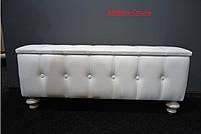 Банкетка, отделка экокожа №61 цвет Белый.пуфик,пуфики,пуф кожзам,пуф экокожа,банкетка,банкетки,пуф к, фото 2