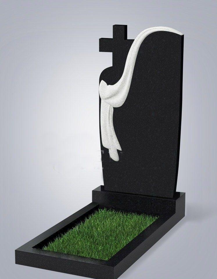 Памятник из черного гранита одинарный с крестом