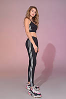 Женские спортивные черные лосины для йоги,танцев и фитнеса с белыми лампасами