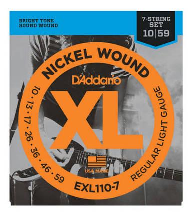 Струны для электрогитары 7-струнный набор  D`ADDARIO EXL110-7 XL REGULAR LIGHT 7-STRING (10-59), фото 2