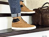 Мужские зимние ботинки кроссовки VINTAGE,горчичные,на меху