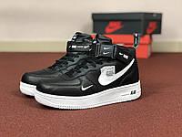 Подростковые зимние высокие кроссовки Nike Air Force,черно-белые 36р