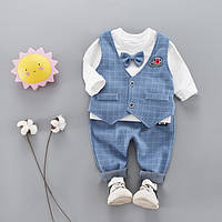 Нарядный костюм-тройка для мальчика. 1-2-3 года. Голубой 8