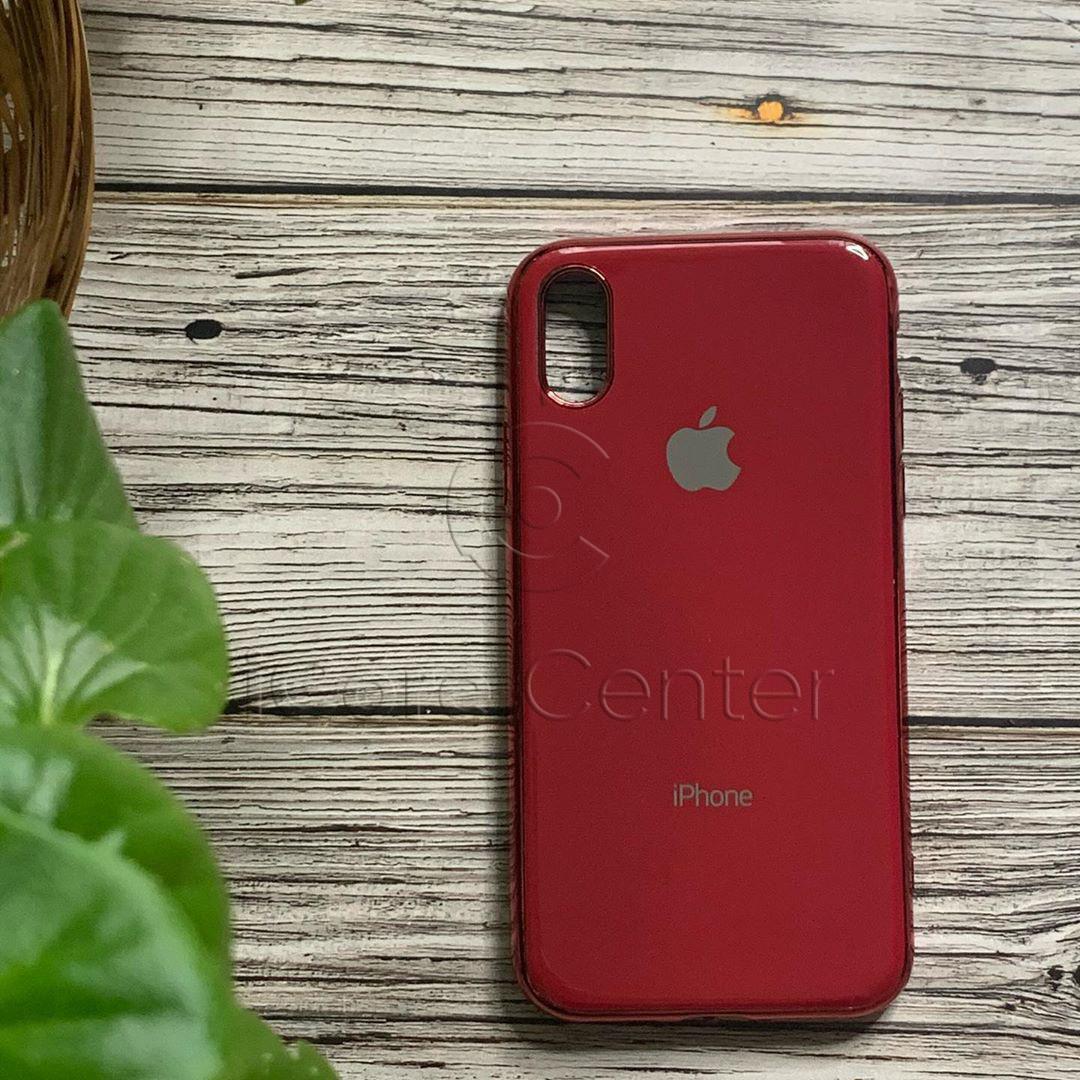 Чехол для iPhone Xs Max Glass Case Logo Красный