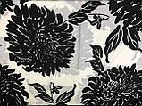 Шарф-палантин шифон  174х75 см  цвет белый с черным с рисунком, фото 2
