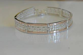 Срібний браслет з пластинами із золота Бр4