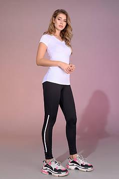 Женские спортивные черные лосины для йоги,танцев и фитнеса со вставкой лампас сетка